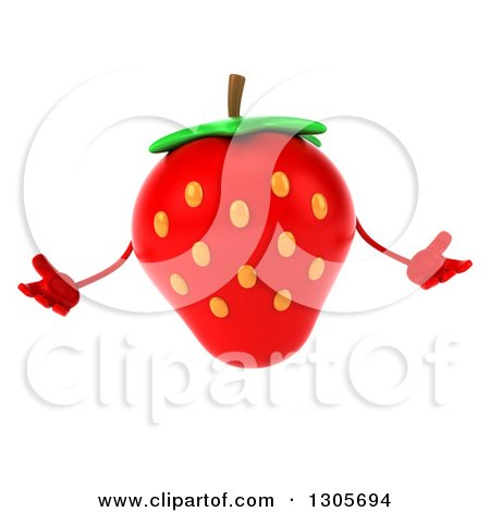 Clipart of a 3d Strawberry Character Shrugging - Royalty Free Illustration by Julos