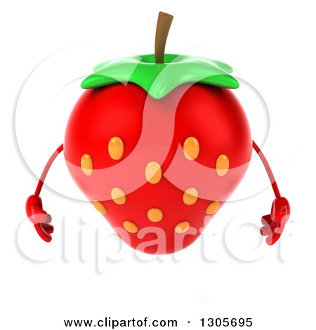 Clipart of a 3d Strawberry Character Looking down - Royalty Free Illustration by Julos