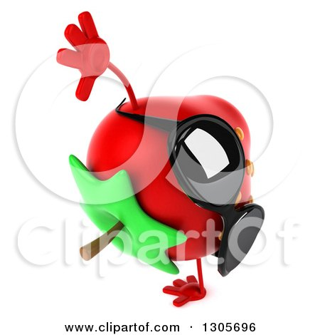 Clipart of a 3d Strawberry Character Wearing Sunglasses, Facing Right and Cartwheeling - Royalty Free Illustration by Julos