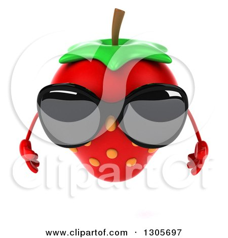 Clipart of a 3d Strawberry Character Wearing Sunglasses and Looking down - Royalty Free Illustration by Julos