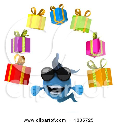 Clipart of a 3d blue fish wearing sunglasses and holding a for Blue fish dental