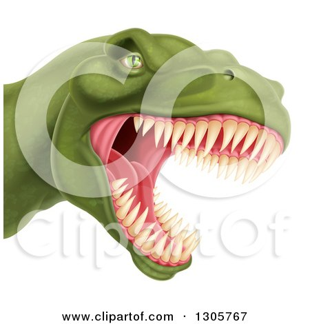 Clipart of a 3d Roaring Angry Green Tyrannosaurus Rex Dino Head - Royalty Free Vector Illustration by AtStockIllustration