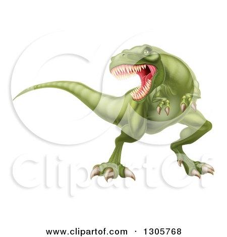 Clipart of a 3d Roaring Angry Green Tyrannosaurus Rex Dinosaur - Royalty Free Vector Illustration by AtStockIllustration
