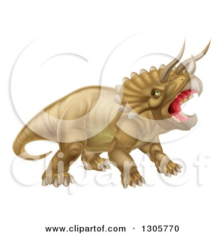 Clipart of a 3d Roaring Angry Triceratops Dinosaur Facing Right - Royalty Free Vector Illustration by AtStockIllustration