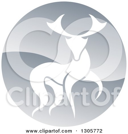 Clipart of a Walking Stag Deer Buck in a Shiny Silver Circle - Royalty Free Vector Illustration by AtStockIllustration