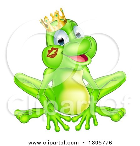 Clipart of a Cartoon Happy Green Frog Prince with a Liptstick Kiss on His Cheek - Royalty Free Vector Illustration by AtStockIllustration
