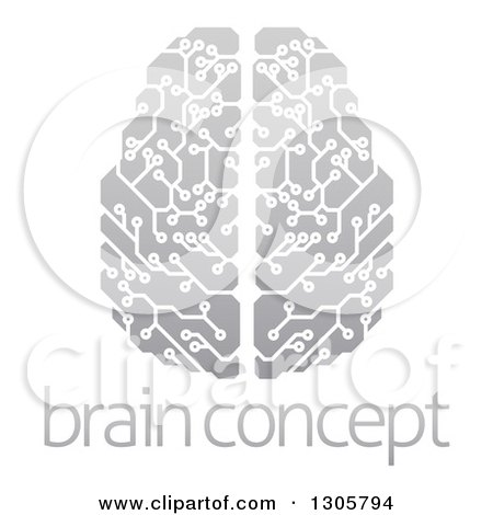 Clipart of a Gradient Gray Circuit Board Artificial Intelligence Computer Chip Brain over Sample Text - Royalty Free Vector Illustration by AtStockIllustration