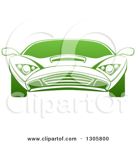 Clipart of a Gradient Green Sports Car - Royalty Free Vector Illustration by AtStockIllustration