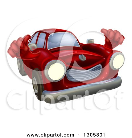 Clipart of a Happy Vintage Red Car Giving Two Thumbs up - Royalty Free Vector Illustration by AtStockIllustration