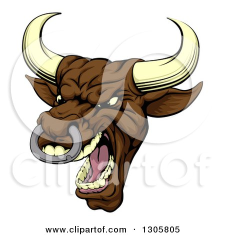 Clipart of a Snarling Vicious Mad Brown Bull Mascot Head - Royalty Free Vector Illustration by AtStockIllustration