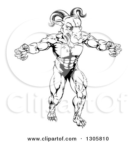 Clipart of a Black and White Muscular Vicious Ram Man with Claws Bared - Royalty Free Vector Illustration by AtStockIllustration