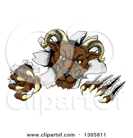 Clipart of a Brown Vicious Ram Monster Clawing Through a Wall - Royalty Free Vector Illustration by AtStockIllustration