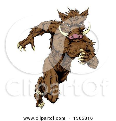 Clipart of a Sprinting Muscular Boar Man Running Upright - Royalty Free Vector Illustration by AtStockIllustration