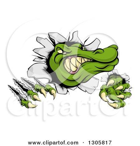 Clipart of a Cartoon Vicious Alligator or Crocodile Head Slashing Through a Wall - Royalty Free Vector Illustration by AtStockIllustration