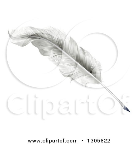 Clipart of a White Plume Feather Quill Pen - Royalty Free Vector Illustration by AtStockIllustration