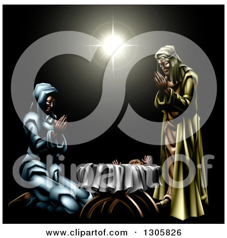 3d Mary and Joseph Praying over Baby Jesus Under the Star of Bethlehem Posters, Art Prints