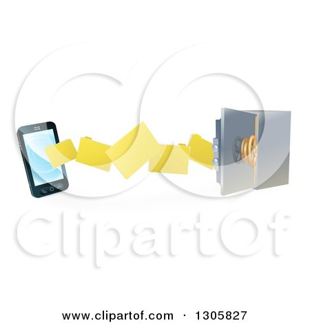 Clipart of a 3d Smart Cell Phone Doing a Secure Data Transfer Backup to a Safe Vault - Royalty Free Vector Illustration by AtStockIllustration