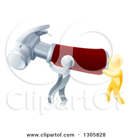 Clipart of 3d Gold and Silver Men Carrying a Giant Red Handled Hammer - Royalty Free Vector Illustration by AtStockIllustration
