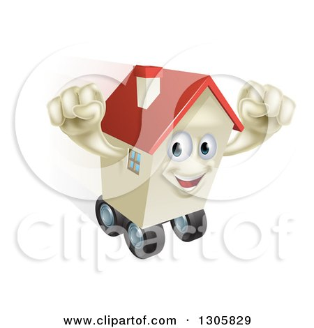 Clipart of a Happy House Character Cheering and Moving While Rolling on Wheels - Royalty Free Vector Illustration by AtStockIllustration