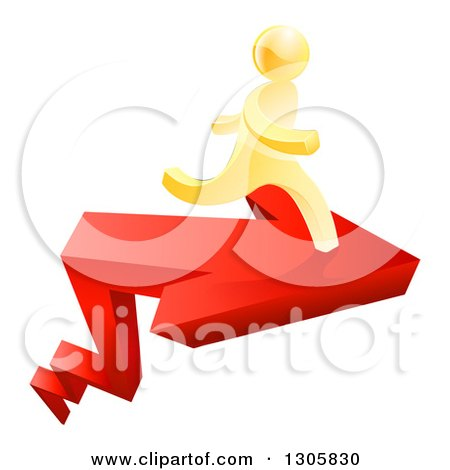 Clipart of a 3d Gold Man Running on Top of a Red Growth Arrow - Royalty Free Vector Illustration by AtStockIllustration