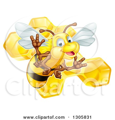 Clipart of a Cute Friendly Bee over Honeycombs - Royalty Free Vector Illustration by AtStockIllustration