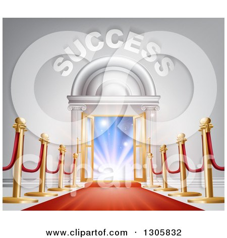 Clipart of 3d SUCCESS over Open Doors with a Red Carpet, Posts and Light - Royalty Free Vector Illustration by AtStockIllustration
