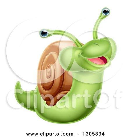 Clipart of a Cartoon Cheerful Green Snail - Royalty Free Vector Illustration by AtStockIllustration