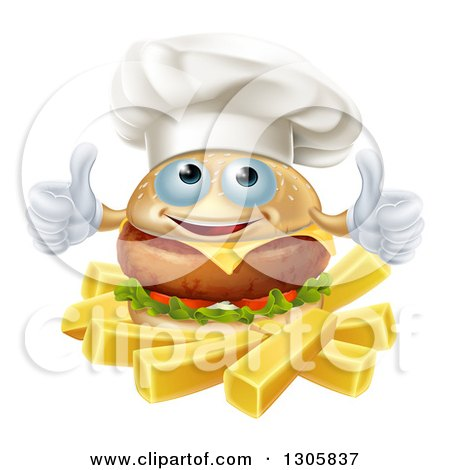 Clipart of a Happy Cheeseburger Chef Holding Two Thumbs up over French Fries - Royalty Free Vector Illustration by AtStockIllustration