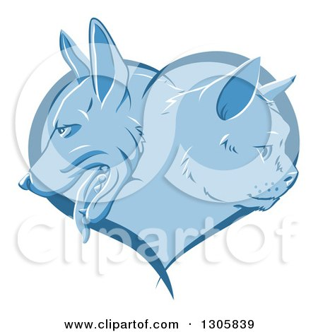 Clipart of a Blue Heart with Cat and Dog Faces in Profile - Royalty Free Vector Illustration by AtStockIllustration