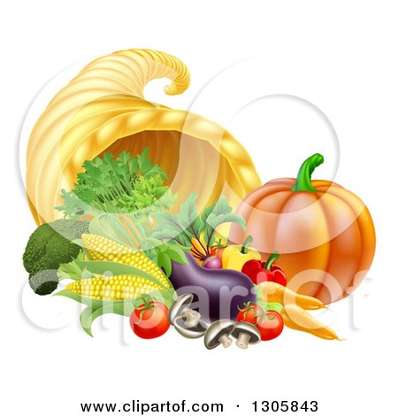 Clipart of a Harvest of Fall Vegetables and a Thanksgiving Cornucopia - Royalty Free Vector Illustration by AtStockIllustration