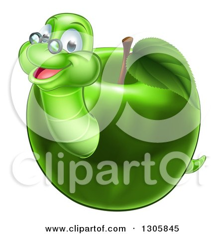 Clipart of a Happy Bespectacled Worm Emerging from a Green Apple - Royalty Free Vector Illustration by AtStockIllustration