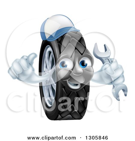 Clipart of a Happy Tire Character Wearing a Baseball Cap, Giving a Thumb up and Holding a Wrench - Royalty Free Vector Illustration by AtStockIllustration
