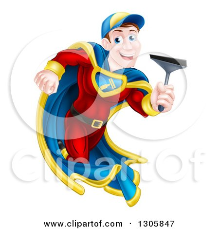 Clipart of a Super Hero Brunette White Male Window Cleaner Running with a Squeegee - Royalty Free Vector Illustration by AtStockIllustration