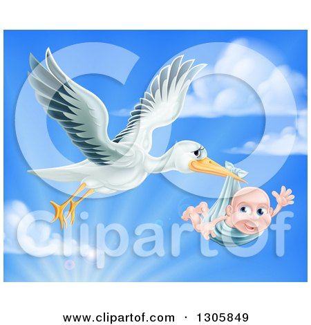 Clipart of a Stork Bird Flying a Baby Boy in a Bundle Against a Blue Sky with Clouds and Sunshine - Royalty Free Vector Illustration by AtStockIllustration
