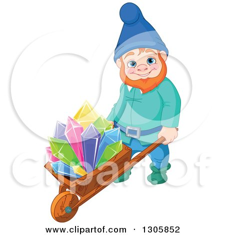 Clipart of a Happy Mining Gnome Pushing Colorful Crystals on a Wheelbarrow - Royalty Free Vector Illustration by Pushkin