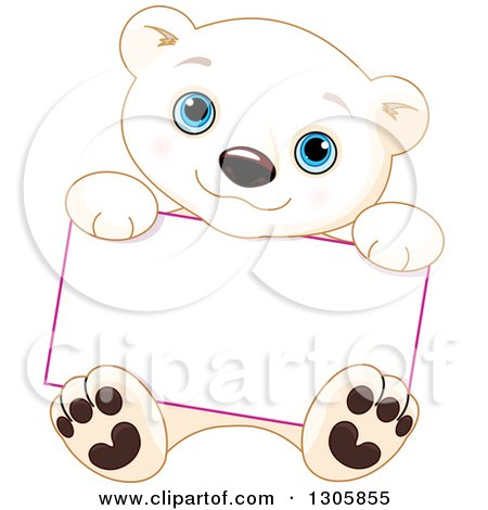 Clipart of a Cute Baby Polar Bear Cub Sitting and Holding a Blank Sign - Royalty Free Vector Illustration by Pushkin
