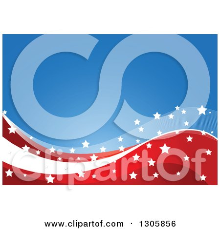 Clipart of a Blue Background with White Stars over Red and White American Wave Stripes - Royalty Free Vector Illustration by Pushkin