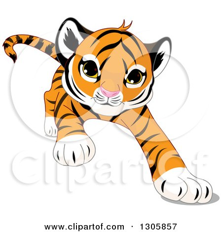 clipart of a cute playful tiger cub stalking running or pouncing rh clipartof com tiger cub scout clip art free boy scout tiger cub clip art