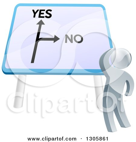 Clipart of a 3d Silver Man Looking up at a Big Yes and No Billboard Sign and Thinking on Which Direction to Go - Royalty Free Vector Illustration by AtStockIllustration