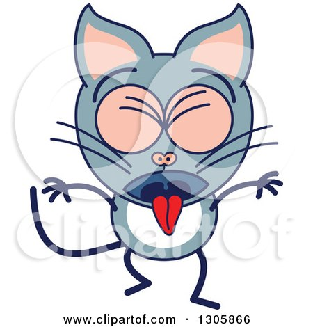 Clipart of a Cartoon Sick Gray Cat Character Vomiting - Royalty Free Vector Illustration by Zooco