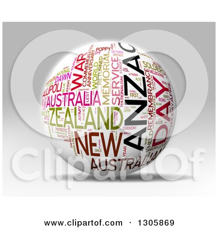 Clipart of a 3d White Anzac Day Word Tag Collage Globe with Colorful Words - Royalty Free Illustration by MacX