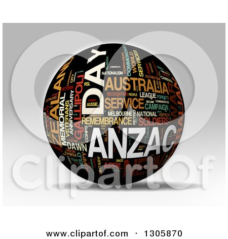 Clipart of a 3d Black Anzac Day Word Tag Collage Globe with Colorful Words - Royalty Free Illustration by MacX