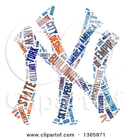 Colorful NY For New York Word Tag Collage Over White