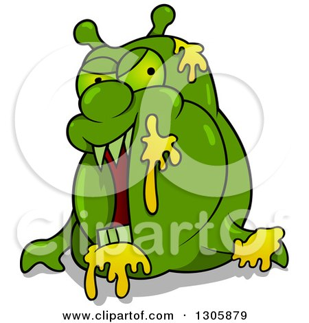 Clipart of a Cartoon Green Garbage Monster - Royalty Free Vector Illustration by dero