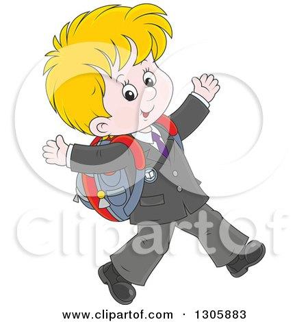 Clipart of a Cartoon Happy Blond White School Boy Walking to School - Royalty Free Vector Illustration by Alex Bannykh