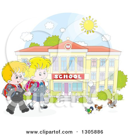 Clipart of Cartoon Happy Blond White School Children Holding Hands and Approaching Birds Outside a School Building - Royalty Free Vector Illustration by Alex Bannykh