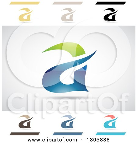Clipart of Abstract Letter a Aria Water Design Elements - Royalty Free Vector Illustration by cidepix