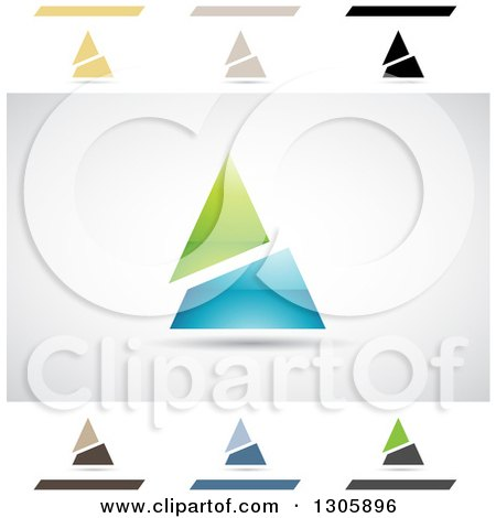 Clipart of Abstract Letter a Angle Split Pyramid Design Elements - Royalty Free Vector Illustration by cidepix