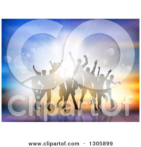 Clipart of a Crowd of Silhouetted Male and Female Dancers Moving and Jumping Against Flares and a Burst of Light - Royalty Free Vector Illustration by KJ Pargeter