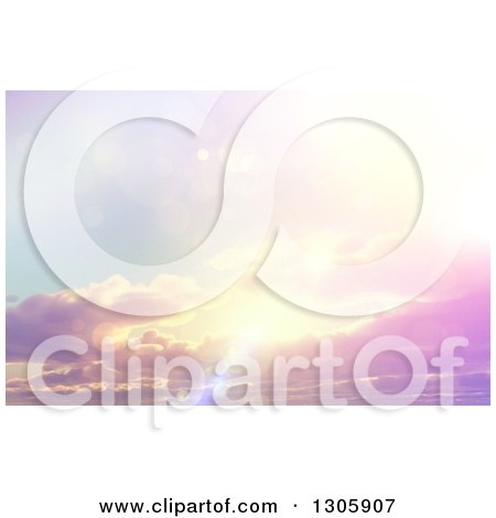 Clipart of a 3d Sun Shining with Flares Through Clouds - Royalty Free Illustration by KJ Pargeter